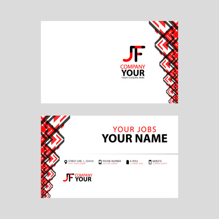 The JF logo on the red black business card with a modern design is horizontal and clean. and transparent decoration on the edges. Logó