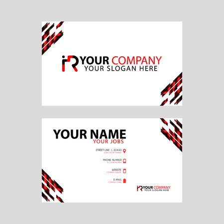 Horizontal name card with decorative accents on the edge and bonus IR logo in black and red.