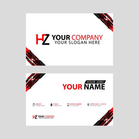 Logo HZ design with a black and red business card with horizontal and modern design.