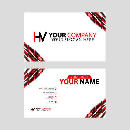 Logo HV design with a black and red business card with horizontal and modern design. Logó