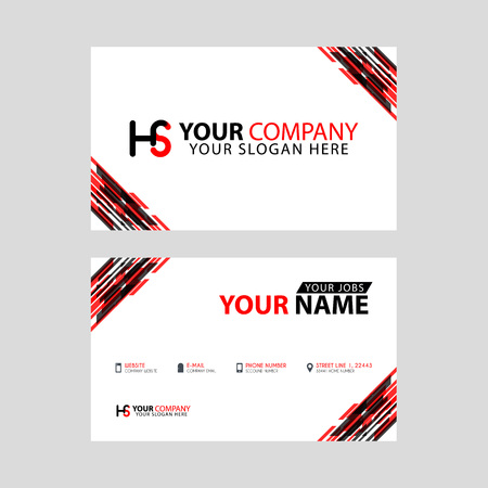 Logo HS design with a black and red business card with horizontal and modern design. Illusztráció