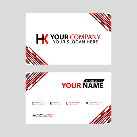 Logo HK design with a black and red business card with horizontal and modern design.