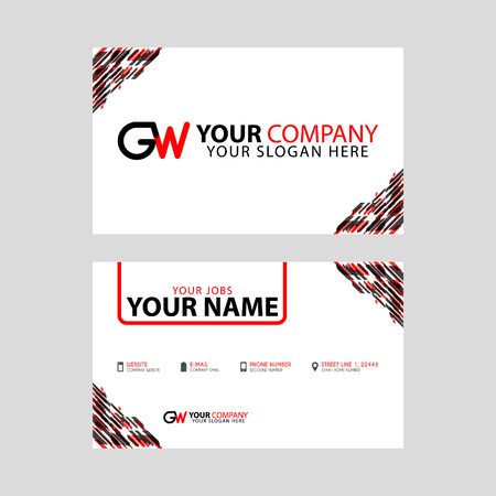 Modern simple horizontal design business cards. with GW Logo inside and transparent red black color.