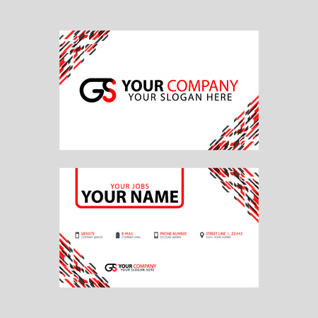Modern simple horizontal design business cards. with GS Logo inside and transparent red black color.