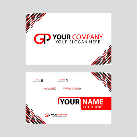 Modern simple horizontal design business cards. with GP Logo inside and transparent red black color.