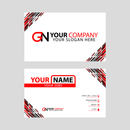 Modern simple horizontal design business cards. with GN Logo inside and transparent red black color.