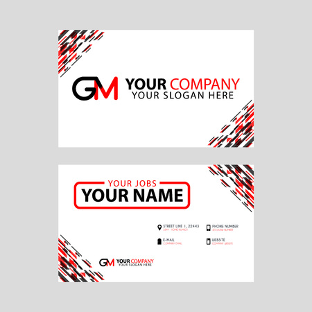 Modern simple horizontal design business cards with gm logo modern simple horizontal design business cards with gm logo inside and transparent red black color colourmoves