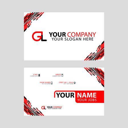 Modern simple horizontal design business cards. with GL Logo inside and transparent red black color. Illusztráció