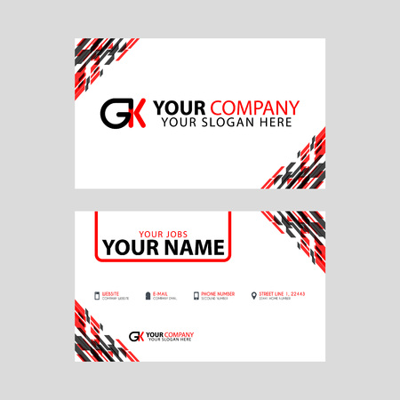 Modern simple horizontal design business cards. with GK Logo inside and transparent red black color.