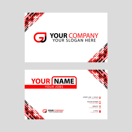 Modern simple horizontal design business cards. with GJ Logo inside and transparent red black color.
