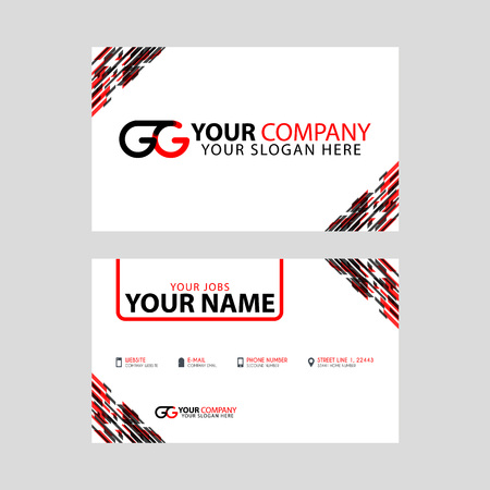 Modern simple horizontal design business cards. with GG Logo inside and transparent red black color.