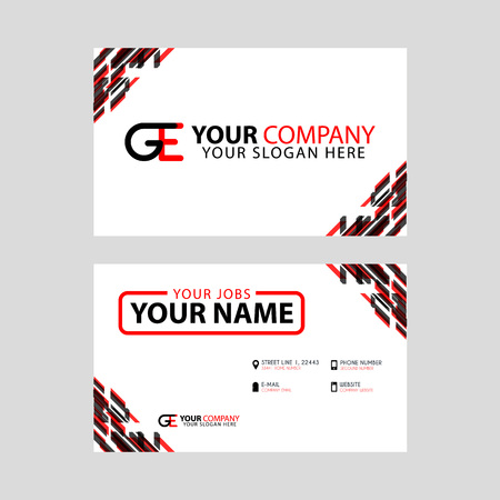 Modern simple horizontal design business cards. with GE Logo inside and transparent red black color.