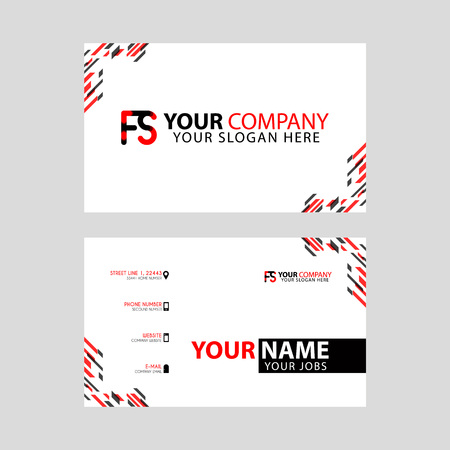 Modern business card templates, with FS logo Letter and horizontal design and red and black colors.
