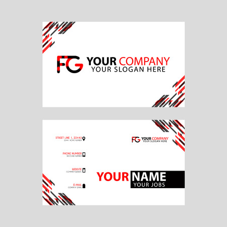 Modern business card templates, with FG logo Letter and horizontal design and red and black colors.