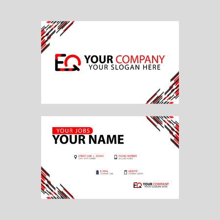 Letter EQ logo in black which is included in a name card or simple business card with a horizontal template.