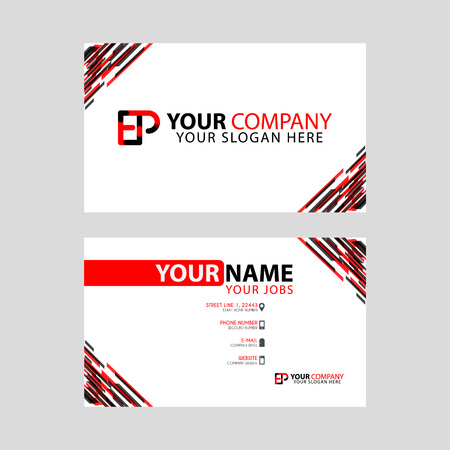 Letter EP logo in black which is included in a name card or simple business card with a horizontal template.