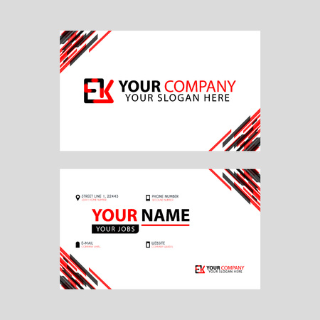 Letter EK logo in black which is included in a name card or simple business card with a horizontal template.