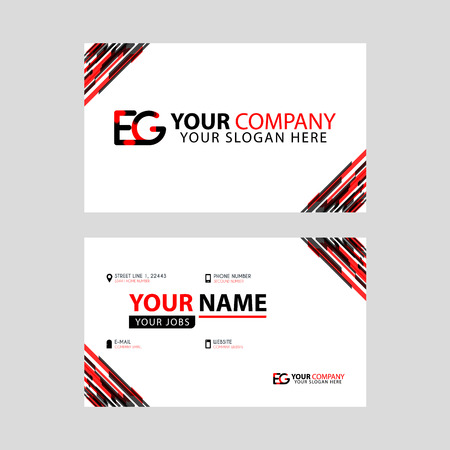 Letter EG logo in black which is included in a name card or simple business card with a horizontal template.
