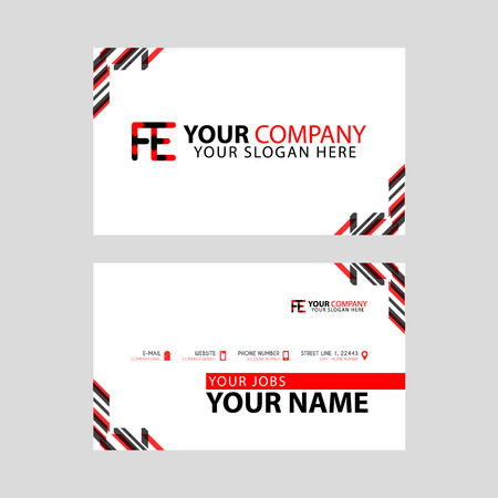 Modern business card templates, with FE logo Letter and horizontal design and red and black colors. Illustration