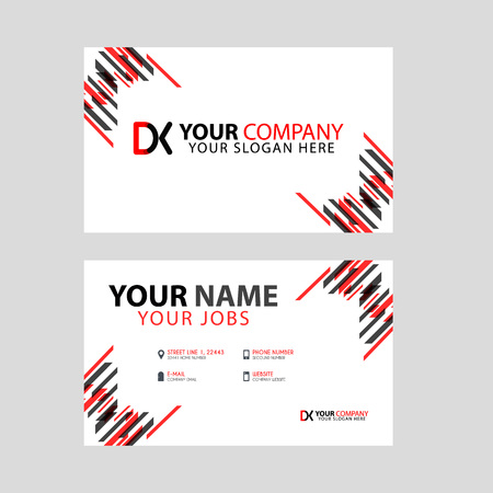 Business card template in black and red. with a flat and horizontal design plus the DK logo Letter on the back. Illusztráció