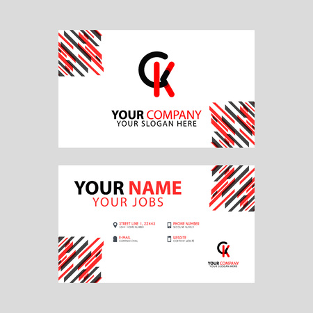 the CK logo letter with box decoration on the edge, and a bonus business card with a modern and horizontal layout. Vettoriali