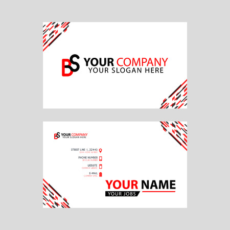 Horizontal name card with BS logo Letter and simple red black and triangular decoration on the edge. Illusztráció