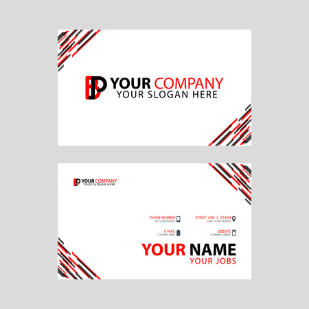Horizontal name card with BP logo Letter and simple red black and triangular decoration on the edge. Illustration