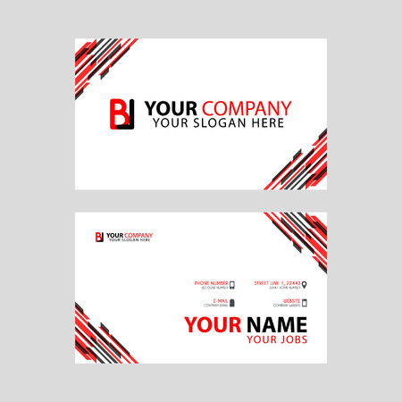 Horizontal name card with BL logo Letter and simple red black and triangular decoration on the edge.