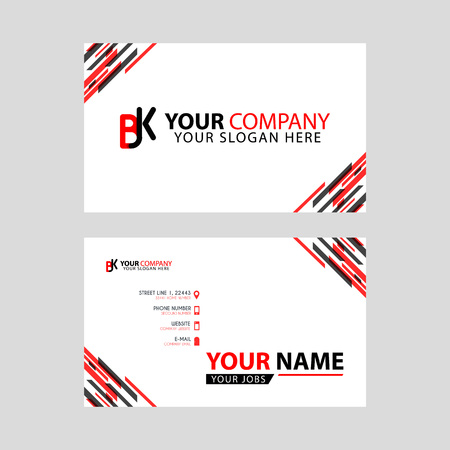 Horizontal name card with BK logo Letter and simple red black and triangular decoration on the edge. Illustration