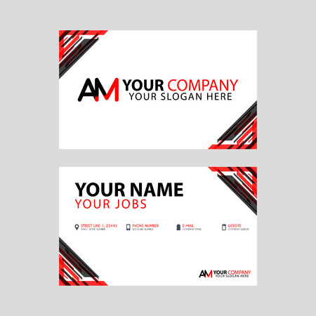 The new simple business card is red black with the AM logo Letter bonus and horizontal modern clean template vector design.