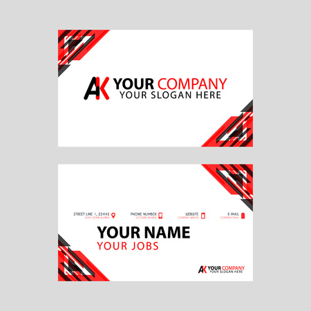 The new simple business card is red black with the AK logo Letter bonus and horizontal modern clean template vector design. Illusztráció