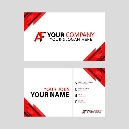 The new simple business card is red black with the AF logo Letter bonus and horizontal modern clean template vector design.