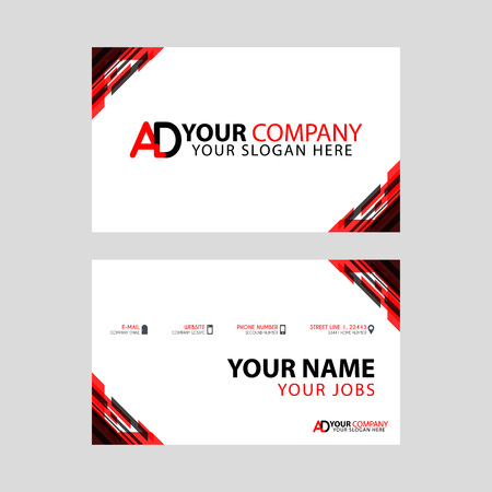 The new simple business card is red black with the AD logo Letter bonus and horizontal modern clean template vector design. Illustration