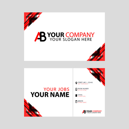 The new simple business card is red black with the AB logo Letter bonus and horizontal modern clean template vector design.