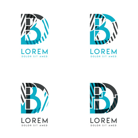 The BD Logo Set of abstract modern graphic design.Blue and gray with slashes and dots.This logo is perfect for companies, businesses and is also suitable for flyers, banners, cards and letterhead.