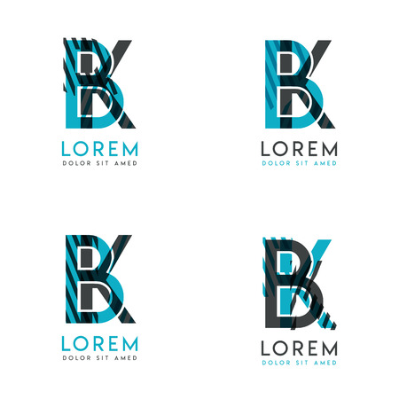 The BK Logo Set of abstract modern graphic design.Blue and gray with slashes and dots.This logo is perfect for companies, businesses and is also suitable for flyers, banners, cards and letterhead. Illustration