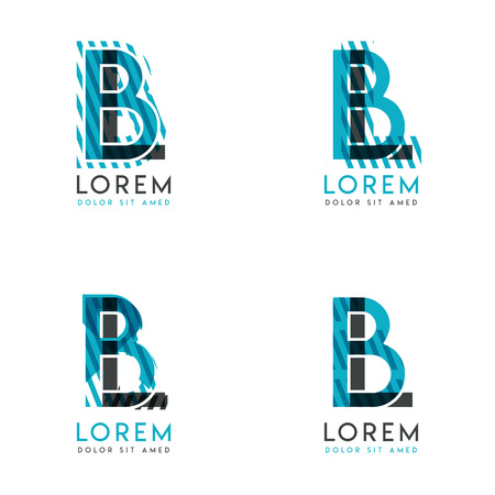 The BL Logo Set of abstract modern graphic design.Blue and gray with slashes and dots.This logo is perfect for companies, businesses and is also suitable for flyers, banners, cards and letterhead.