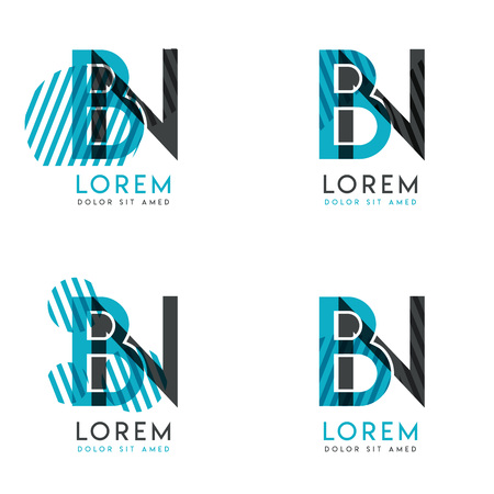 The BN Logo Set of abstract modern graphic design.Blue and gray with slashes and dots.This logo is perfect for companies, businesses and is also suitable for flyers, banners, cards and letterhead. Logó