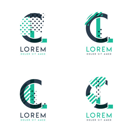 Four abstract CL logo posts set with dot and slash, green and black. very suitable for corporate identity, business, letterhead ,cards and banners