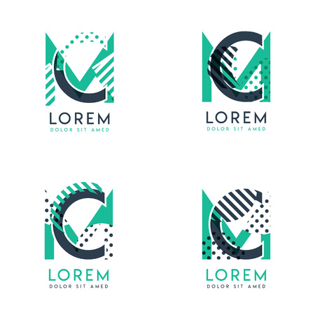 Four abstract CM logo posts set with dot and slash, green and black. very suitable for corporate identity, business, letterhead ,cards and banners Logo