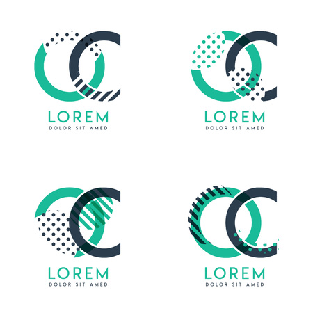 Four abstract CO logo posts set with dot and slash, green and black. very suitable for corporate identity, business, letterhead ,cards and banners