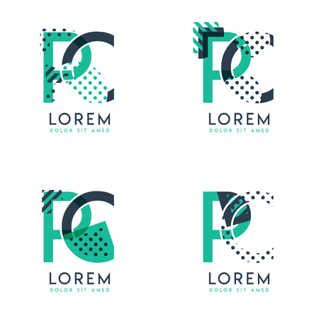 Four abstract CP logo posts set with dot and slash, green and black. very suitable for corporate identity, business, letterhead ,cards and banners