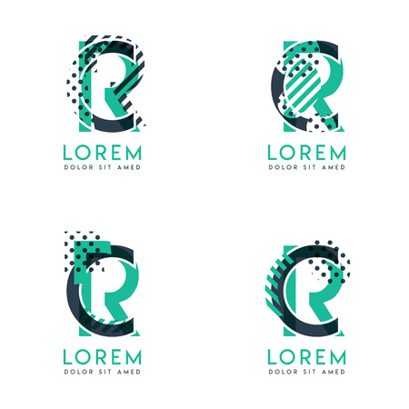 Four abstract CR logo posts set with dot and slash, green and black. very suitable for corporate identity, business, letterhead ,cards and banners