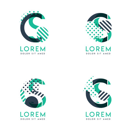 Four abstract CS logo posts set with dot and slash, green and black. very suitable for corporate identity, business, letterhead ,cards and banners