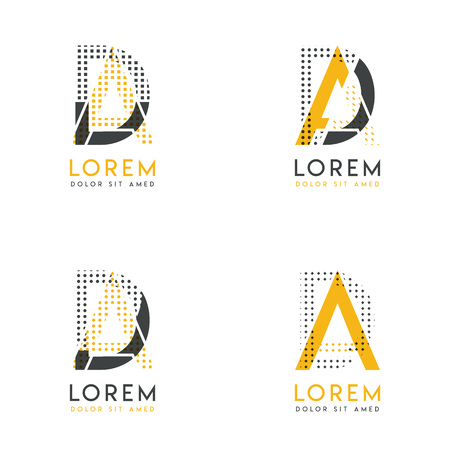 a set with four abstract AD logo. Suitable for websites and corporate identity, and can be used for banner, card and business. this logo is yellow and gray Illustration