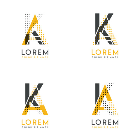 a set with four abstract AK logo. Suitable for websites and corporate identity, and can be used for banner, card and business. this logo is yellow and gray