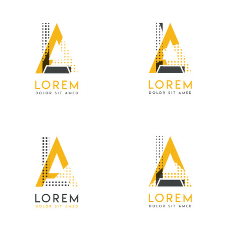 a set with four abstract AL logo. Suitable for websites and corporate identity, and can be used for banner, card and business. this logo is yellow and gray Ilustração