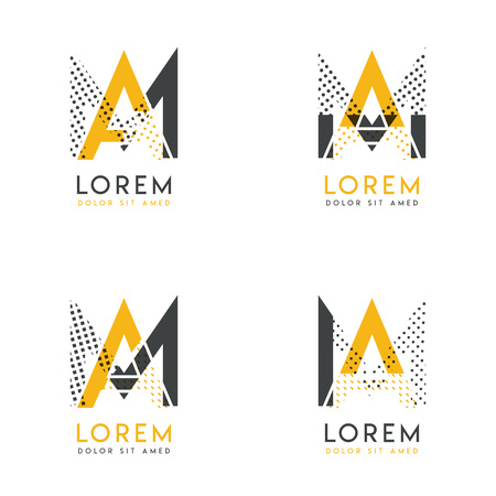 a set with four abstract AM logo. Suitable for websites and corporate identity, and can be used for banner, card and business. this logo is yellow and gray