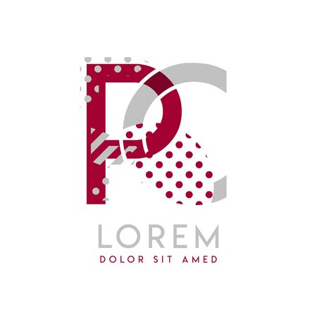 PC simple logo design with Gray and maroon color that can be used for creative business and advertising. CP logo is filled with bubbles and dots, can be used for all areas of the company