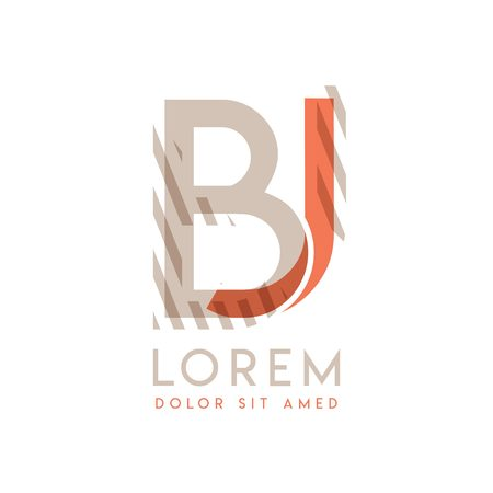 JB natural logo design with pink orange and gray color that can be used for creative business and advertising. BJ logo is filled with bubbles and dots, can be used for all areas of the company